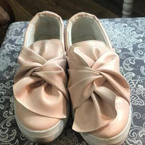 Shoes - Pink leather bow detail slip on shoe